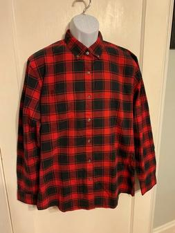 Goodthreads Light Flannel Shirt Red Black Plaid  NWOT  C10