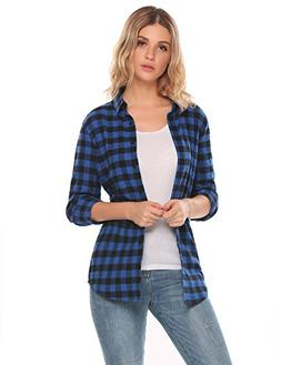 Zeagoo Women's Lightweight Relaxed Fit Checkered Plaid Long