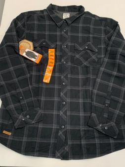 Voyager Lined Flannel Mens Shirt NEW Gray/Black XXL Cotton/P