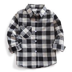 OCHENTA Little Girls' Long Sleeve Button Down Plaid Flannel