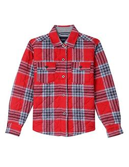 Nautica Little Boys' Long Sleeve Woven Shirt Jacket, Red Rou
