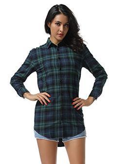 Women's Long Sleeve Boyfriend Style Plaid Shirt Dress Casual