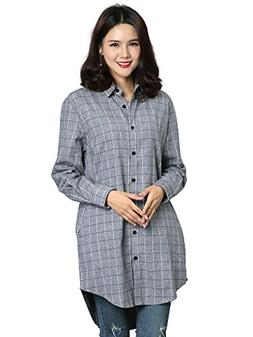 OCHENTA Women's Long Sleeve Boyfriend Style Plaid Shirt Dres