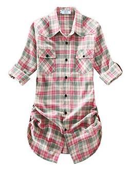 Match Women's Long Sleeve Button Down Collar Flannel Shirt #