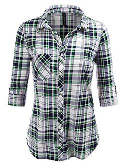 JJ Perfection Womens Long Sleeve Full Button Down Plaid Flan