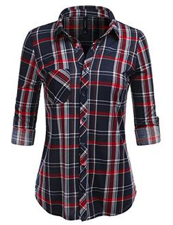 JJ Perfection Womens Long Sleeve Checkered Pattern Collared