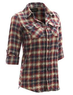 Fifth Parallel Threads Long Sleeve Cotton Plaid Shirt WINEBE