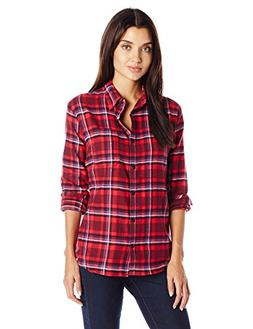 Dickies Women's Long-Sleeve Plaid Flannel Shirt, Poinsettia/