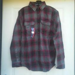 George Long Sleeve Flannel Shirt S  Reinforced Seams Burgand