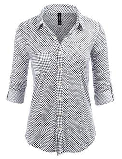 JJ Perfection Womens Long Sleeve Grid Print Button Down Plai