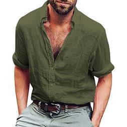 iLXHD Mens Long Sleeve Henley Shirt Cotton Linen Beach Yoga