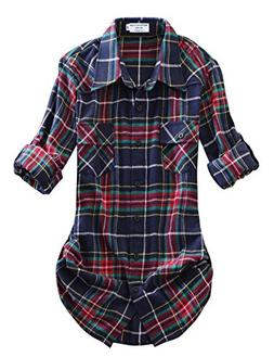 Match Women's Long Sleeve Plaid Flannel Shirt #2021