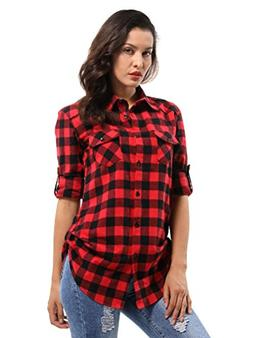 OCHENTA Women's Long Sleeve Plaid Flannel Shirt D056 Black R