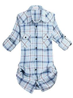 Women's Long-Sleeve Plaid Flannel Shirt Blue White Tag US M