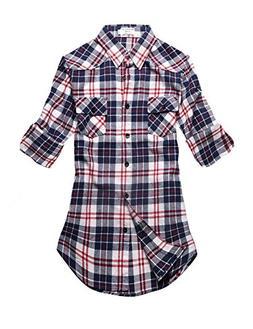 Match Women's Long Sleeve Plaid Flannel Shirt #2021