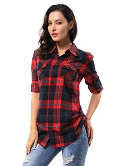 OCHENTA Women's Long Sleeve Plaid Flannel Shirt M029 Red Nav