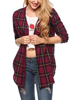 Zeagoo Women's Long-Sleeve Plaid Flannel Shirt Casual Slim B