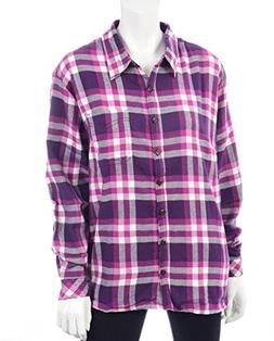Dickies Women's Long Sleeve Plaid Flannel Shirt, Purple Penn