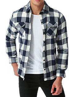 MODCHOK Men's Long Sleeve Plaid Shirts Button Down Stretch F