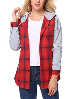 Zeagoo Women's Long Sleeve Plaid Shirts Pocket Flannel Hoodi