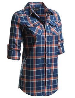 Fifth Parallel Threads Long Sleeve Regular Plaid Shirt BlueO