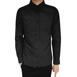 YOcheerful Mens Long Sleeve Shirt Casual Suits Tee Dress Shi