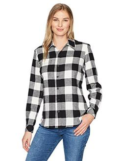 Dickies Women's Long Sleeve Plaid Shirt, Opaque White/Black