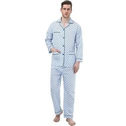 GLOBAL Men's Long-Sleeve Sleepwear 100% Cotton Pajamas Set X