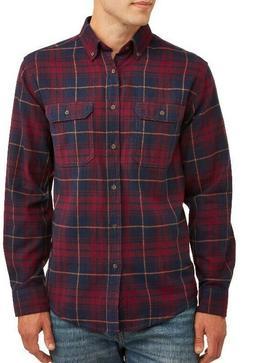 Long Sleeve Super Soft Flannel Shirt XS  Burgundy Blue