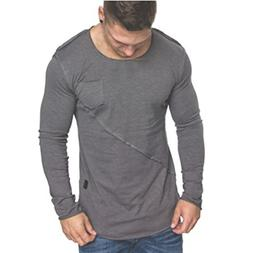 YOcheerful Men Long Sleeve T-Shirt Button Basic Solid Blouse