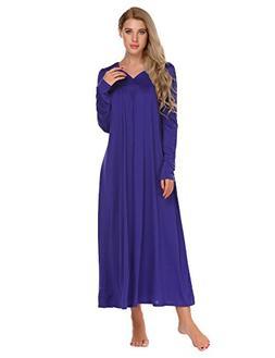 Ekouaer Long Sleeve Victorian Nightgown Sexy Sleepwear Maxi