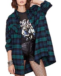 ZANZEA Loose Flannel Plaid Shirt Dress Buffalo Long Cardigan