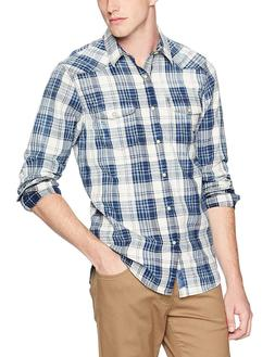 Lucky Brand Men's Casual Long Sleeve Plaid Button Down Weste