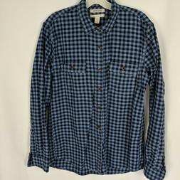 Goodthreads Man's Large Slim Blue Check Brushed Flannel Shir