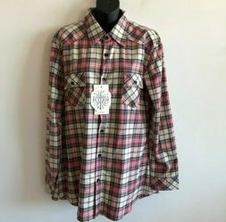 Match Matchstick Plaid Check Flannel Shirt Women's US 10 12
