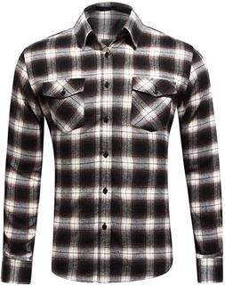 MCEDAR Men's Plaid Flannel Shirts-Long Sleeve Casual Butto