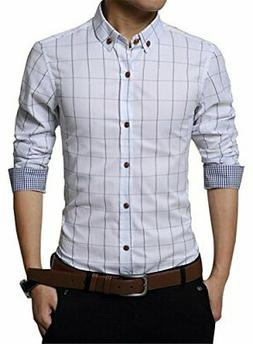 men casual slim fit plaid flannel fashion