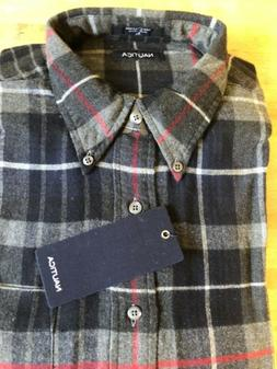 Nautica Men Charcoal Flannel Plaid Button Up Shirt XL New wi