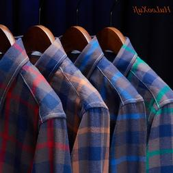 HuLooXuJi Men <font><b>Flannel</b></font> Plaid <font><b>Shi
