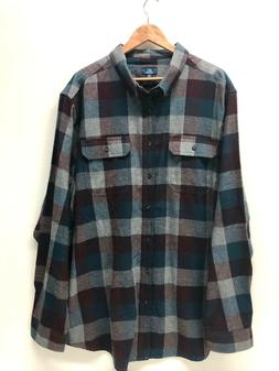 George Men Plaid Flannel Shirt Cotton Green Blue Burgundy So