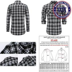 Emiqude Men'S 100% Cotton Slim Fit Long Sleeve Button Down F
