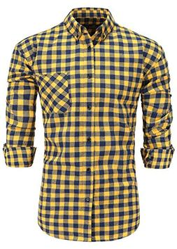 Emiqude Men's 100% Cotton Slim Fit Long Sleeve Flannel Plaid