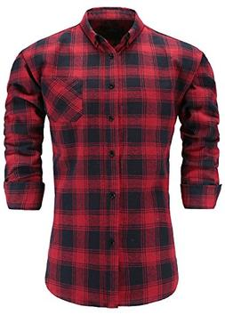 Emiqude Men's 100% Flannel Cotton Slim Fit Long Sleeve Butto