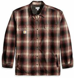 Carhartt Men's Big & Tall Hubbard Flannel Plaid Sherpa L