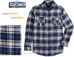 KingSize Men's Big & Tall 100% Cotton Plaid Flannel Shirt, N