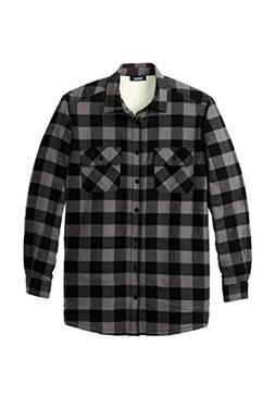 KingSize Men's Big & Tall Flannel Sherpa Lined Shirt, Black