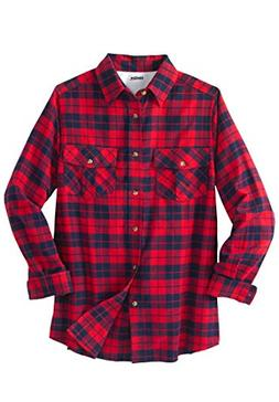 KingSize Men's Big & Tall Long-Sleeve Plaid Flannel Shirt, R