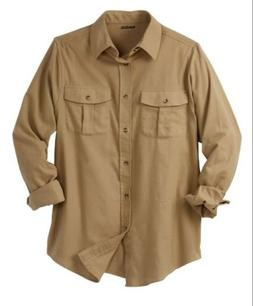 Men's Big & Tall Size 2XL Double-Brushed Beige Flannel Shirt