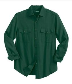 Men's Big & Tall Size 2XL Double-Brushed Green Flannel Shirt