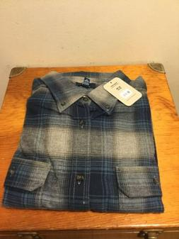 George Men's Blue Gray Plaid Flannel Shirt Size XL Button Fr